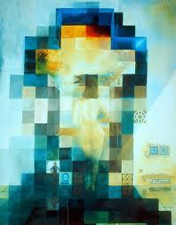 Gala desnuda mirando al mar que, a una distancia de 20 metros, se convierte en el retrato de Abraham Lincoln (Homenaje a Rothko)