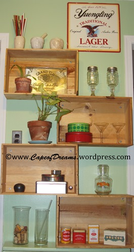 Wine crate shelves