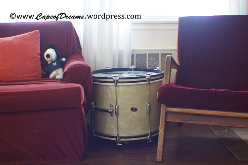 Drum used as side table