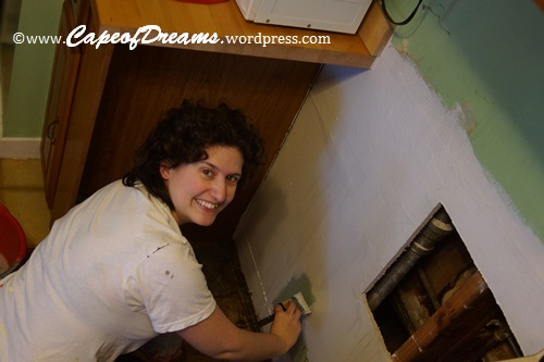 Painting behind stove