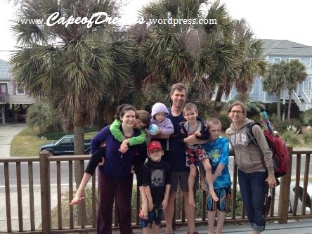 with nieces and nephews at Folly Beach