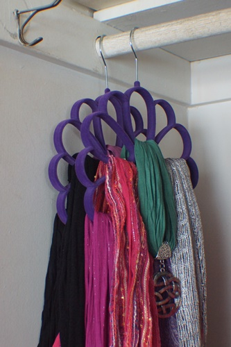 Tights and scarves on flocked hangers in closet